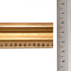 Distressed gold frame with bevelled edges and beaded inner edge. 22mm