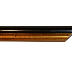 Narrow, bevelled wood frame with distressed gold inner edge. 25mm