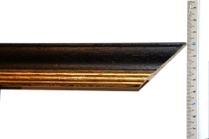 Wood frame with bevelled gold inner edge. 40mm