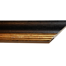 Wood frame with bevelled gold inner edge. 40mm