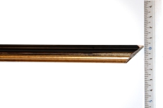 Thin, bevelled wood frame with gold inner edge. 15mm