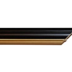 Bevelled wood frame with gold inner edge. 20mm