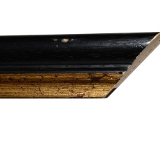 Wide, bevelled wood frame with distressed gold inner edge. 30mm