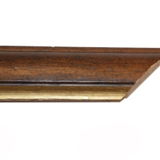 Rounded wood frame with bevelled outer edge and distressed gold inner edge. 45mm