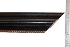 Wide bevelled wood frame with distressed gold beaded inner slip edge. 50mm
