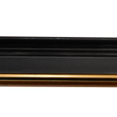 Bevelled wood frame with gold inner edge. 30mm