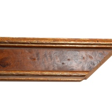 Wood frame with bevelled and distressed gold edges. 45mm
