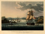 Port Cornwallis, Great Andaman: Harbour scene with the British fleet including the steam powered warship HMS Diana, the 50 gun HMS Liffey and the Napolianic war cruizer class sloop HMS Sophie.