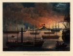 View of the burning plain of Dalla with the British Fleet in the harbour including HMS Diana, the first steam powered warship of the East India Company, newly armed with Congreve rockets.