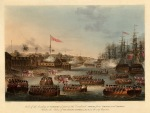 The landing of the combined forces of British Infantry, Bombay Marine and the East India Company's private arrmies from Bengal and Madras.