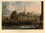 Great Dagon Pagoda from the Great Road with a native fishing in the foreground.