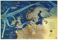U. S. Government Printing: World War 2 in the North Sea Area. Published 1944, Washington. Large map of Northern Europe, published for the Educational Services Section for the U. S. Navy Department. (Nav. War Map No. 3).