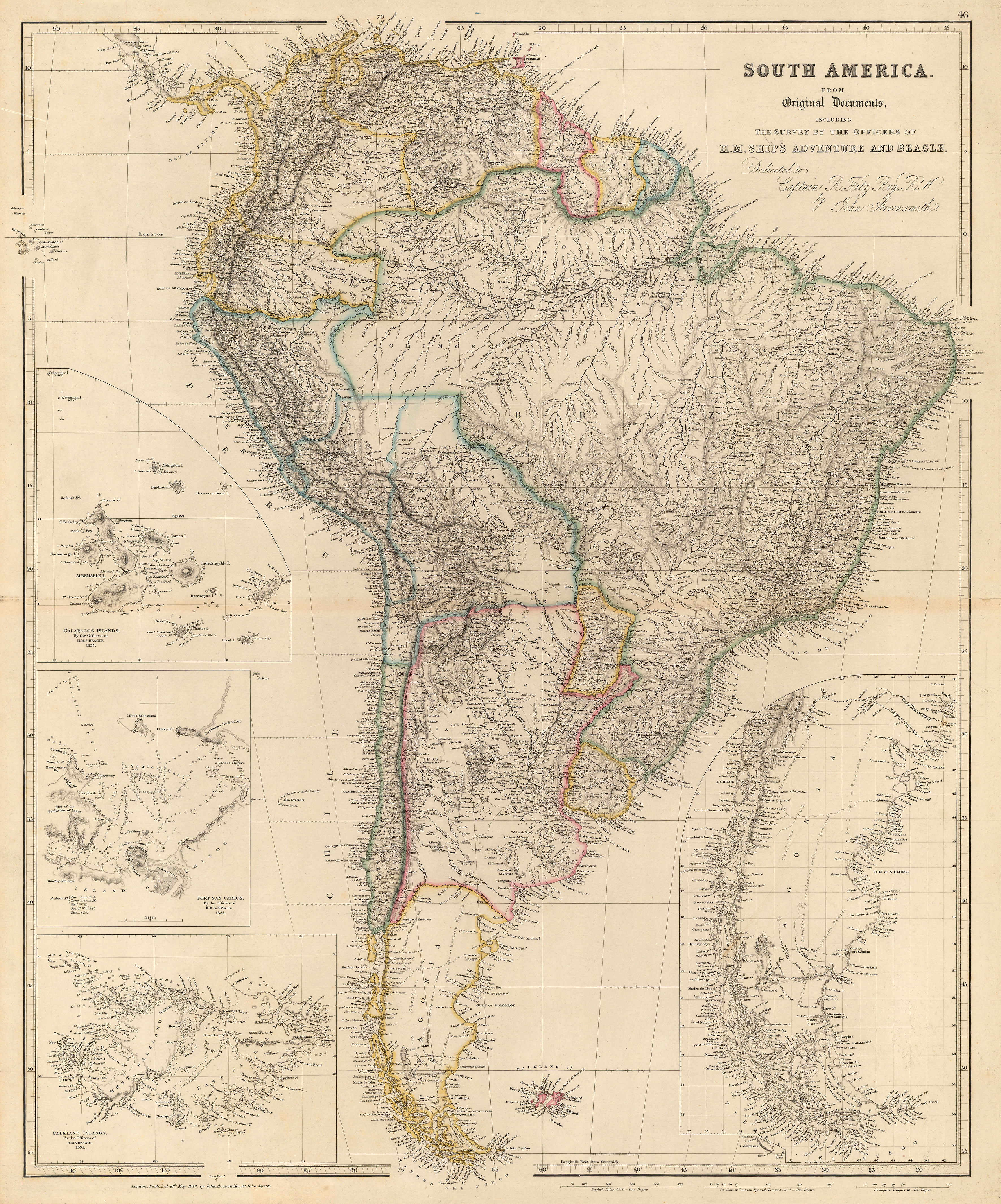 Map Of South America 2017.Map Of South America With Charts Of Patagonia Galapagos And The