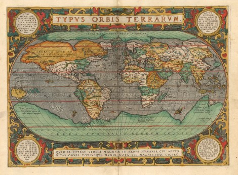 Typus Orbis Terrarum. Ortelius, 1594. Cornerstone map of the world with the latest information, particularly on the coast of South America. [WLD4185]