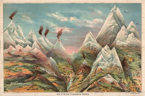 "Yaggy: Ascending Regions. 1893. An orgiginal antique chromolithograph. 32"" x 24"". [WLD4201]"