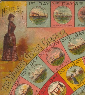 Nellie Bly portrait on board game